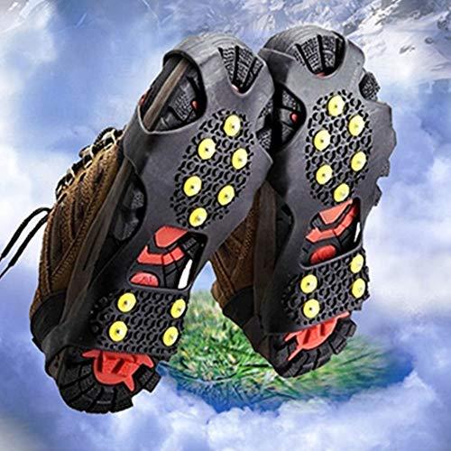 Minleer Ice Snow Grips, Tacos de tracción para Nieve, Puntas de Goma Antideslizantes 10 crampones de Espesor, se agarran rápida y fácilmente Sobre el Calzado, L
