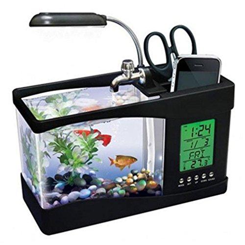 Multifunktions USB Farbverlauf Lampe Fantasy Aquarium klein , mamum Mini USB LCD Desktop Lampe Licht Fisch Tank Aquarium Led Uhr Einheitsgröße Schwarz