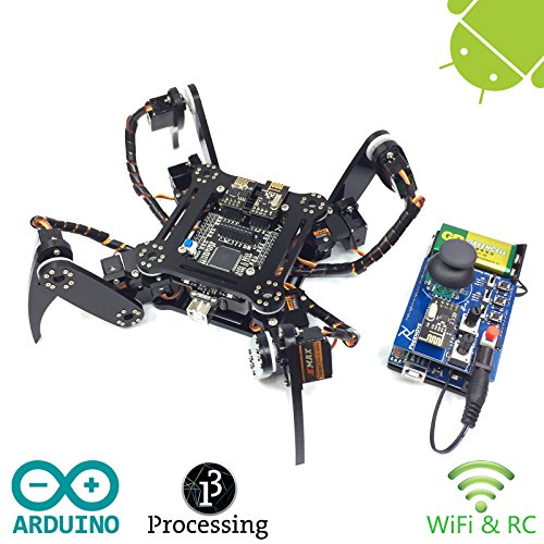 Freenove Quadruped Robot Kit with Remote Control | Arduino Based Project | Raspberry Pi | Spider Walking Crawling 4 Legged | Detailed Tutorial | Android App | Wi-Fi Wireless RC 2.4G Servo