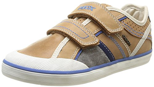 Geox J Kiwi B A, Baskets mode garçon Marron (Lt Brown/Navy)