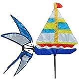 Windrad / Windspiel - Segelboot - Windmühle Windräder - Windrichtungsanzeiger - Wetterfest für Außen Windspiele mit Spieß 147 cm - Maritim Schiff Meer