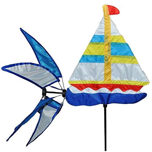 Unbekannt Windrad / Windspiel - Segelboot - Windmühle Windräder - Windrichtungsanzeiger - Wetterfest für Außen Windspiele mit Spieß 147 cm - Maritim Schiff Meer