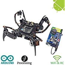 Freenove Quadruped Robot Kit with Remote Control   Arduino Robot Project   Spider Walking Crawling 4 Legged   Detailed Tutorial   Android APP   RC WiFi Wireless 2.4G Servo