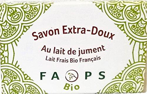 Savon 100 g au lait de Jument frais Bio Français fait à la main 100% Naturel et Végétal Francais .sans Sulfates, Silicones , Parabens, EDTA, MIT, Alcool, Colorants, phénoxyéthanol, OGM, nano-particules, huiles minérales, huile de palme matières issues de pétrochimie, et non testé sur les animaux,