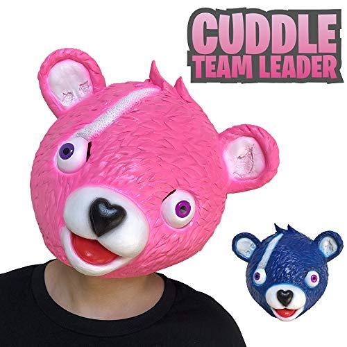 (YUYOUG 2018 Halloween-Kostüm, Party-Spiel, Latex-Tier-Maske für den Ganzen Kopf, Schmusetuch, Teamführer, Fortnite Bärenkopf, blau, Large)