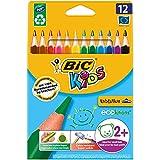 BIC Kids Evolution Triangle ECOlutions - Blíster de 12 unidades, lápices de colores triangulares, colores surtidos