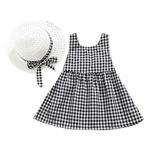 Kariert gedruckte Bogen Kleid Urlaub Sommerkleid Kleinkind Prinzessin Kleidung + Hut Outfits Set ()