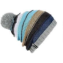 YueLian Unisex Sombrero de nieve del Invierno Al aire libre con pompón de esquí Warm Caps (gris claro)