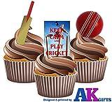 12 X avec inscription 'keep Calm and Play-Batte de Cricket-Lecteur de carte en Papier comestible prédécoupé pour décorations de gâteau avec support UPS