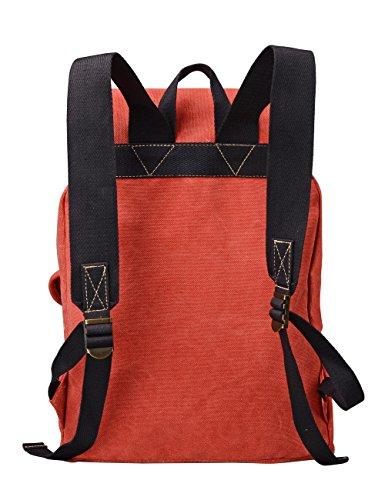 """Douguyan Canvas Fashion Rucksack Groß Damen Backpack Womens Daypack Baumwoll Mädchen Schulrucksack Vintage Schulranzen 15,6"""" Notebook Backpack Laptop Rucksack mit Laptopfach Girls School Backpack Reis Orange"""