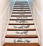 (34 x 60 cm) In Diesen Haus Wir Lieben, Wir sind eine Familie, Schriftzug Zitat, Treppen Aufkleber Oder Wandtattoo, Vinyl, Motiv in Deutsch Sprache