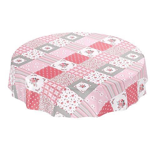 ANRO Wachstuchtischdecke Wachstuch Wachstischdecke Tischdecke abwaschbar Rosa Patchwork Karo Rund 120cm