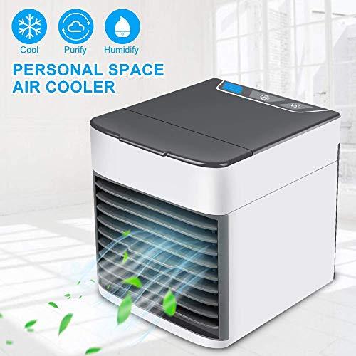 GESUNDHOME Aire Acondicionado Móvil, 3en1 Mini Ventilador Humidificador Purificador de Aire Personal USB Climatizador Portátil [Sin Freón] para Casa/Oficina (Gris)