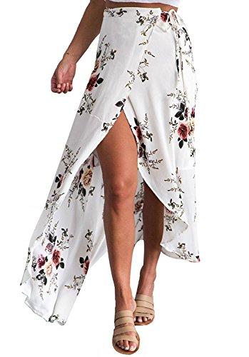 Walant Damen Lang Blumen Röcke Schnürung Elegant Boho Chiffon unregelmäßigen vorne offen Slits Hoher Röcke Maxi Strand Röcke- XL, Weiß