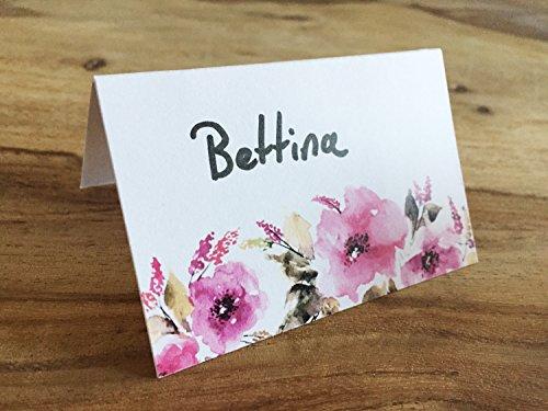 Platzkarten mit floralem Watercolor Motiv