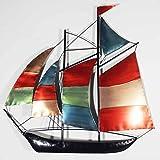 Wall Art - Scultura da parete - Wall Art Decore Contemporaneo in Metallo - Barca a vela, yach, colorata