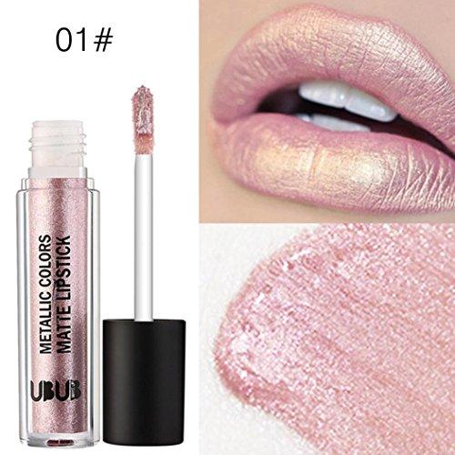 Tefamore UBUB Metal Pearl Rouge à Lèvres Hydratant Velvet Lipstick Maquillage de Beauté Cosmétique (01#)