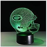 3D Lampe Fußball Green Bay Packers Helm LED-Licht 7 Farbwechsel Tischlampe Bunte 3D Nachtlicht Kinder Weihnachtsgeschenke