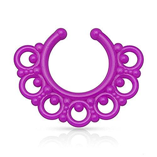 1 x Lila Neon Tribal Fan Design Acryl Nase Septum Kleiderbügel Clicker Nicht Piercing Länge: 10mm