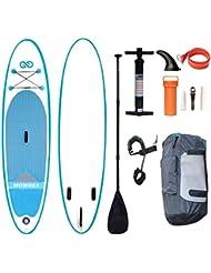 WOWSEA Tabla Hinchable Paddle Surf/ SUP con Bomba, Mochila, Tubo de reparación, Remo, Cordón - 318 * 81 *15cm