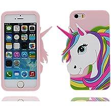 iPhone 5 Custodia, Copertura Premium TPU Nuovo design durevole Prezzo basso in iPhone 5S case 3D Unicorno per iPhone 5 5s SE 5C 5G ( rosa )