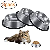 lovingmona Cat Bowl Stainless Steel 3 Pieces Pet Feeding Bowls for Cats Puppies Rabbits Small Dogs Anti-slip