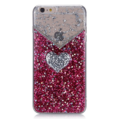 Coque iPhone 6 Miroir, iPhone 6S Coque Brillante, SainCat Ultra Slim TPU Silicone Case pour iPhone 6/6S, Bling Bling Glitter Strass Diamant Anti-Scratch Soft Gel Silicone 3D Transparent Silicone Case  Glitter Rouge