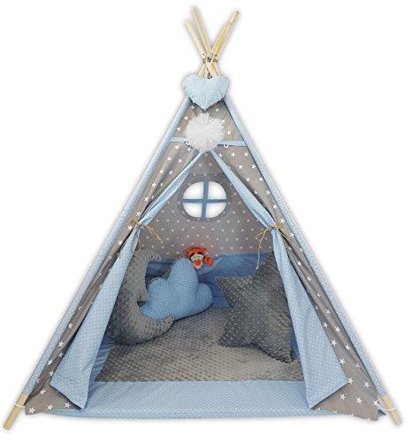 Kinder Teepee Tipi Set für Kinder Spielzeug drinnen draußen Spielzelt Zelt Tipi-Set Indianer Indianertipi mit Fenster usw. Tipi mit und ohne Zubehör erhältlich (Tipi mit Elementen, Grauer Mond)