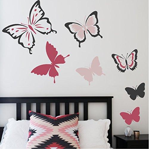 Papillon Lot de 6Chambre d'enfant ou de meubles pour chambre de fille–mural Pochoir pour peindre, S