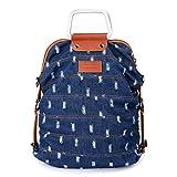 Damen Rucksack Handtasche Schultaschen Vintage Umhängentasche für Alltag Büro Schule Ausflug Einkauf (Denim 1)