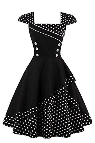 MisShow Damen 50er Hepburn Vintage Rockabilly Kleid Partykleider Petticoat Swing Ärmellos Knielang -