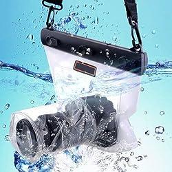 Sac/étui/boîtier étanche et imperméable pour les Appareils Photos Caméra SLR Canon 5D Nikon D7000 etc. (Longueur de l'objectif 150mm) - Blanc