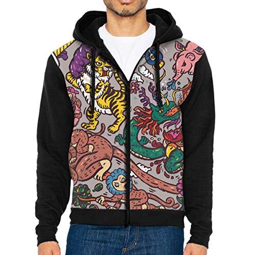 The Dragon with Owl Men's Full-Zip Hoodie Jacket Sweatshirt M Youth Full Zip Lightweight Jacket