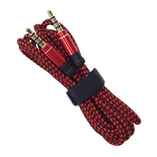 Distinct® geflochten Stoff 3 M 3,5 mm männlich, männliche Stereo Audio AUX Aux-Kabel für iPod MP3 (rot) Sony Heim-lautsprecher