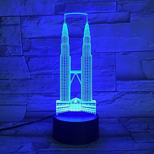 Berühmte Gebäude Kuala Lumpur Stadt Petronas Twin Towers USB 3D LED Nachtlicht Festival Geschenk dekorative Lichter Schreibtischlampe Schlafzimmer A-1902