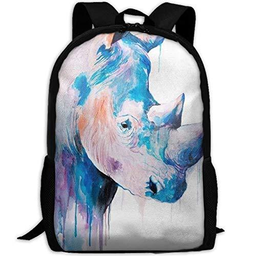 HOJJP Schultasche Blue Rhino Art Print Travel High School Backpacks Lightweight Bag for College Girls Womens - Rhino Canvas Print