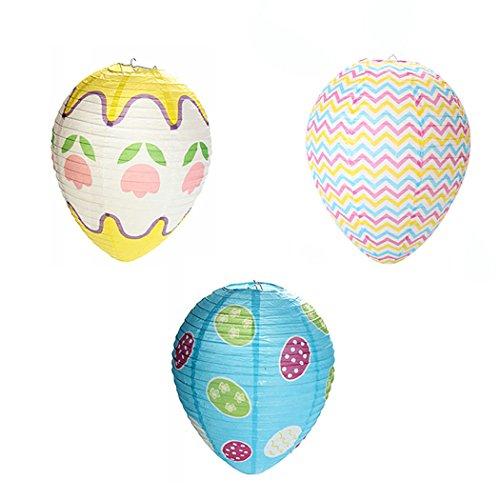 FunPa Huevo Colgante De Pascua, 3 Piezas De Pascua Ornamento Colgante Huevo Plegable De Papel con Forma De Linternas Huevo De Pascua