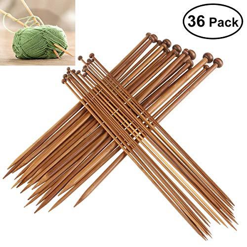 Agujas Bambú,36 Pack Agujas Punto Bambú Kit Carbonizadas