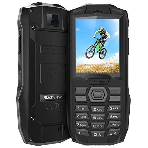 Blackview BV1000 GSM Mobiltelefon Dual SIM IP68 Wasserdicht Outdoor Handy Einfach, 3000mAH Großer Akku, 2,4 Zoll Farbdisplay Handy Ohne Vertrag, 0.3MP Kamera, FM-Radio, Taschenlampe, Schwarz Gsm-sim-handy