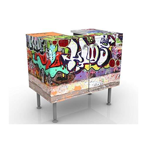 Meuble sous Vasque Design Graffiti 60x55x35cm, Petit, 60 cm de Large, réglable, Table de lavabo, Armoire de lavabo, lavabo, Meuble Bas, Baignoire, Salle de Bains, Armoire de Salle Bains