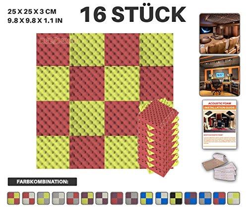 Acepunch 16 Stück ROT UND GELB Eierkarton Gewellter Akustikschaum 2 Farbe DIY Entwurf Mit Freiem Klebestreifen 25 x 25 x 3 cm AP1052