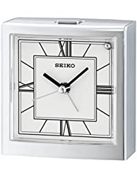 Seiko QHE123S Bedside Quiet Sweep Beep Bell Alarm Clock - Silver