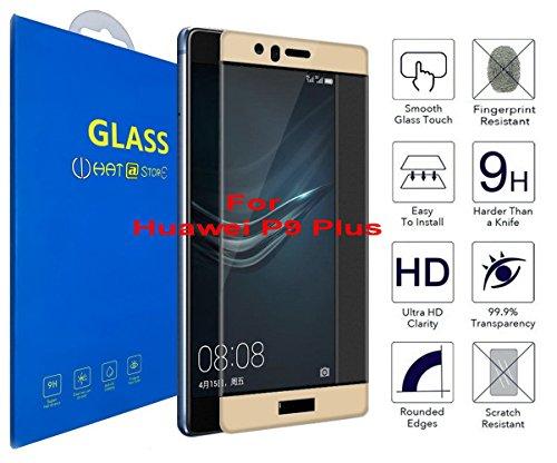 Huawei P9 Plus - Curvo 3D Cristal Templado Protector de Pantalla, 3D completo borde curvado [ borde a borde ] para Huawei P9 Plus ( Oro )