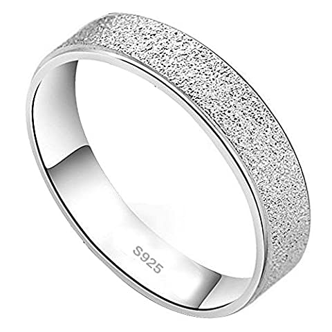 Weeno Ladies Mens 925 Sterling Silver Ring Matte for Wedding Band/Anniversary/Engagement (P)