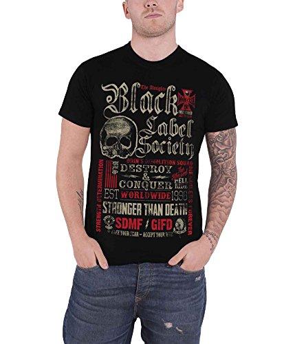 Black Label Society Destroy & Conquer offiziell Herren Nue Schwarz T Shirt (Black Label Society Hoodie)