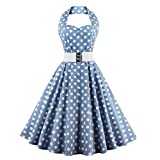 Frauen Retro Swing Rock White Belt Party Kleid Blaue Polka Dot(Medium)