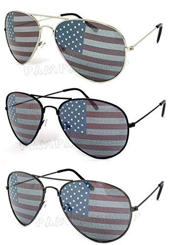 VeryHobby 3 Paare Combo Usa Vereinigte Staaten Amerikanische Flagge Aviator-Sonnenbrille-Gläser. (55) 55 Schwarz Mittel Silber,Schwarz & Gun Metal