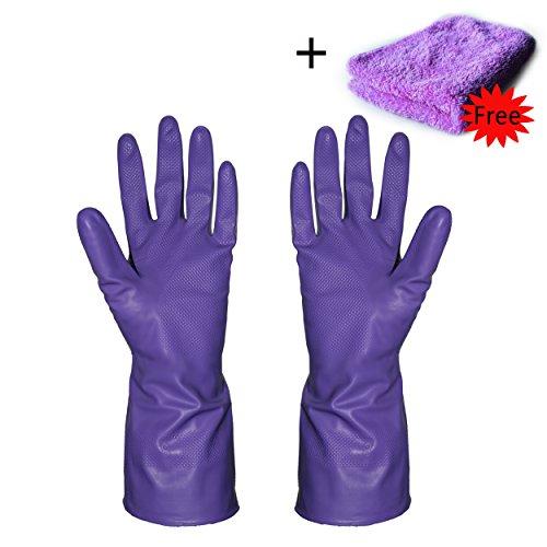 mingtong Küche Latex Handschuhe Gummi Reinigung Handschuhe Heavy Duty Haushalt Handschuhe, wiederverwendbar Wasserdicht Dish Handschuhe für Küche Wäschekorb Reinigung violett (Heavy-duty-haushalts-handschuhe)
