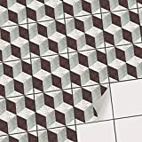 Fliesen Sticker für - [ Boden Fliesen ] - Aufkleber Folie Sticker für Boden-Fliesen - Küche oder Bad | Fliesenaufkleber als Alternative zu Fliesenfarbe | 20x20 cm - Design 3D Marmor Cubes