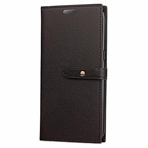 EKINHUI Case Cover Slim Premium PU Leder Wallet Case Horizontale Flip Stand Schutzhülle mit Card Slots und Niet Gürtelschnalle Closure für Samsung Galaxy S5 ( Color : Black ) Black